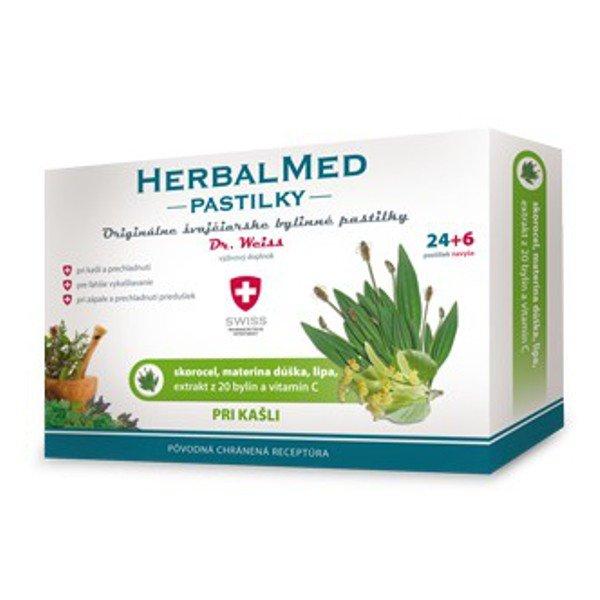 Swiss HerbalMed pastilky pri kašli 30 pastiliek - Dr.Weiss skorocel, mat. dúška, lipa, 20 bylín, vit.C 30 ks