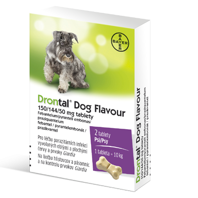 Drontal Dog Flavour 150/144/50mg tbl.24 - Drontal Dog Flavour 150/144/50 mg tablety tbl 1x2 ks