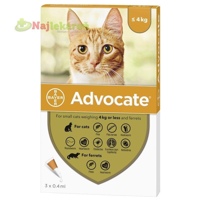 Advocate spot-on pipeta pre malé mačky proti parazitom 3x0,4 ml