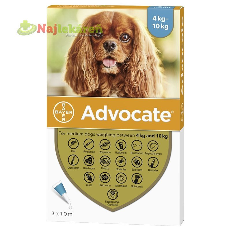 Advocate spot-on pipeta pre stredné psy proti parazitom 3x1ml