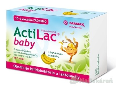FARMAX ActiLac baby vrecúška (s banánovou príchuťou) pre správne fungovanie čriev, 1x13 ks - Farmax ActiLac baby vrecúška 13 ks
