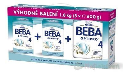 BEBA OPTIPRO 4 umelé mlieko -trojbalenie 3x600g - BEBA OptiPro 4 3x600 g