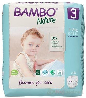BAMBO 3 (4-8 kg) detské plienky priedušné 28 ks