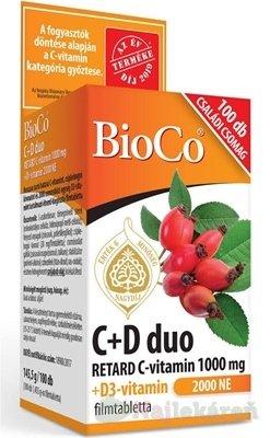 BioCo C+D duo, 100 ks - BioCo C+D duo RETARD C-vitamín 1000 mg + D3-vitamín 2000 IU 100 tabliet
