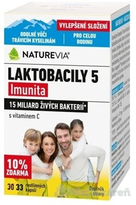 "SWISS NATUREVIA LAKTOBACILY ""5"" s vitamínom C 33 cps"