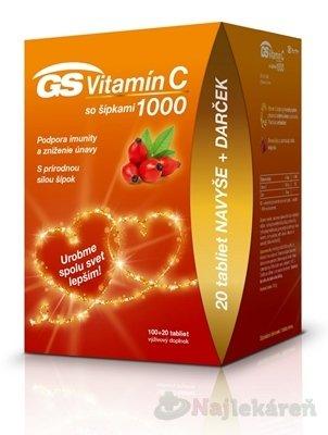 GS Vitamín C 1000 so šípkami darček 2020 - GS Vitamín C 1000 so šípkami 120 tabliet
