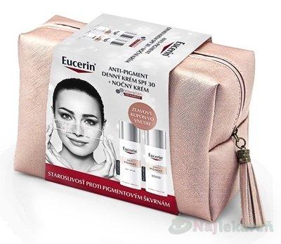 Eucerin ANTIPIGMENT Kazeta - Eucerin Antipigment denný krém 50 ml + nočný krém 50 ml + kozmetická taška (Vianoce 2020) darčeková sada