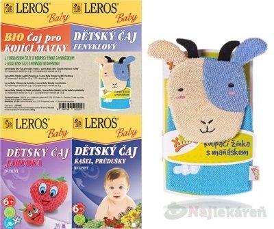 LEROS BABY- 4 ČAJE A MAŇUŠKA NA UMÝVANIE - LEROS BABY BIO dětské čaje mi x +žínka 4 x 20ks