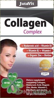 JutaVit Kolagén komplex - JutaVit Kolagén komplex + kyselina hyalurónová, vitamíny B3, B2, C + organický zinok a biotín 60 tabliet