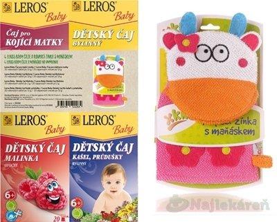 LEROS BABY 4 ČAJE A MAŇUŠKA NA UMÝVANIE - LEROS BABY dětské čaje mi x +žínka 4 x 20ks