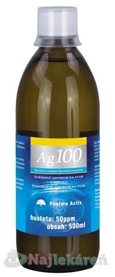 Pharma Activ Koloidné striebro Ag100, hustota 50ppm, 500 ml - Pharma Activ Koloidné striebro Ag100 50ppm 500 ml