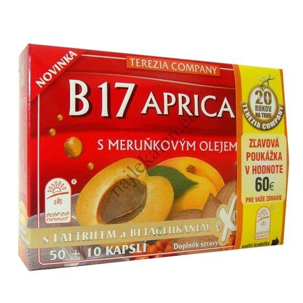 Terezia B17 Apricarc s marhuľovým olejom 60 kapsúl - B 17 Apricarc s meruňkovým olejem 60 kapsúl