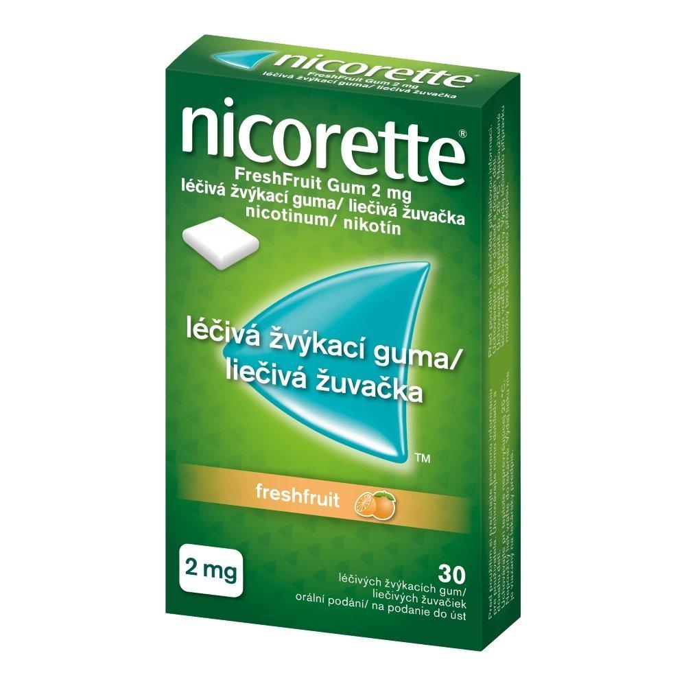 Nicorette Fresh fruit 2 mg žuvačky proti fajčeniu, 30 ks