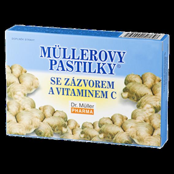 Dr. Müller Pharma Müllerove pastilky so zázvorom 24 pastiliek - Dr. Müller MÜLLEROVE PASTILKY SO ZÁZVOROM zahriatie 24 ks