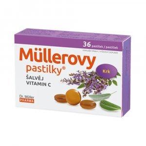Dr. Müller MÜLLEROVE PASTILKY SO ŠALVIOU A VIT. C pri nachladení 30 6 36 ks
