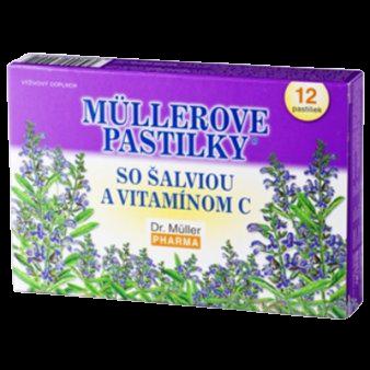 Müllerove pastilky so šalviou a vitamínom C (12 tbl) - Dr.Müller pastilky so šalviou a vit. C 12 ks