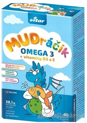 VITAR MUDráčik OMEGA 3 + vitamíny D3 a E - VITAR MUDráčik OMEGA 3 + vitamíny D3 a E žuvacie kapsule s príchuťou tutti-frutti 1x60 ks