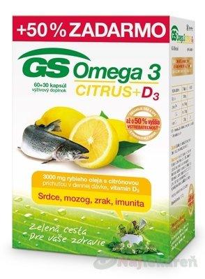 GS Omega 3 CITRUS + D3, 90ks