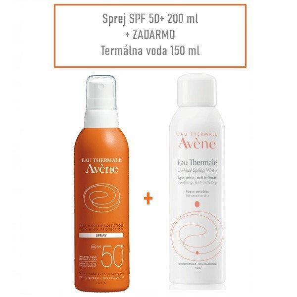 AVENE Sprej SPF50+ 200ml + Termálna voda 150ml zadarmo