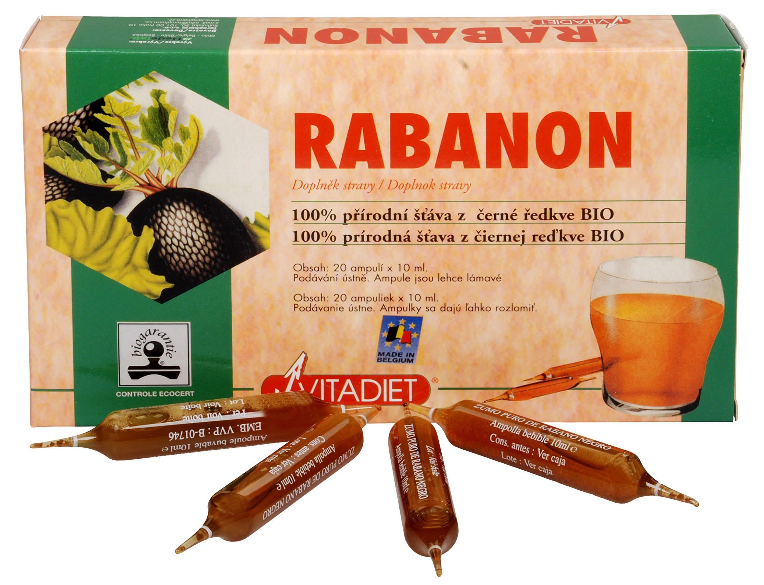 Rabanon 100% prírodná šťava z čiernej reďkovky BIO 20 ampulí