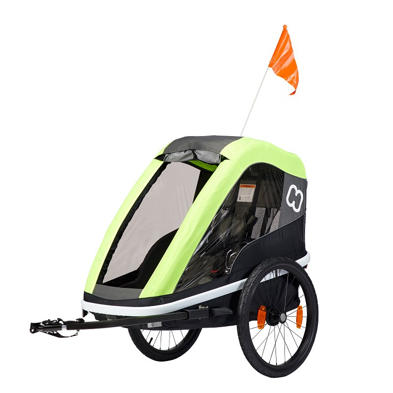 HAMAX Avenida One - jednomiestny vozík za kolo vr. ramena + kočíkový set Lime, odpružený