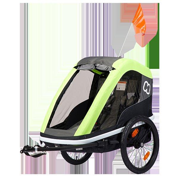 HAMAX Avenida Twin - dvojmiestny vozík za bicykel vr. ramená + kočíkovú set Lime, odpružený