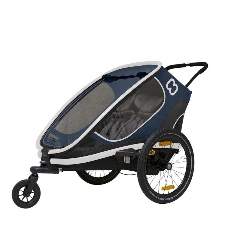 HAMAX Outback 2v1 - dvojmiestny vozík za bicykel vr. ramená + kočíkovú set - Navy Blue, polohovacie