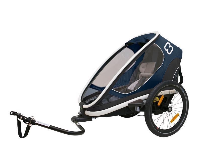 HAMAX Outback One - jednomiestny vozík za bicykel vr. ramená + kočíkovú set - Navy Blue, polohovacie