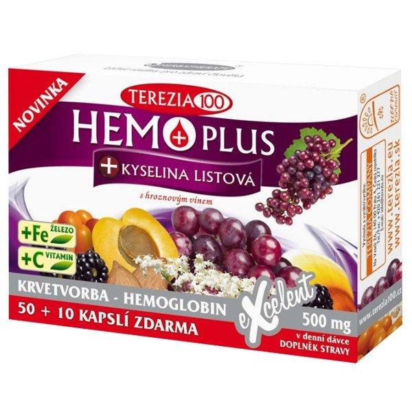 HEMO PLUS + kyselina listová, 50+10 kapsúl ZDARMA