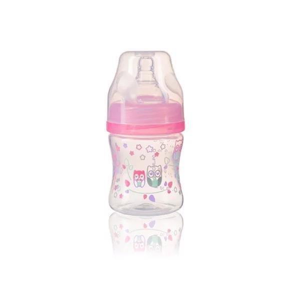 BABYONO Fľaša antikoliková Klasik ružová 120 ml 0 m+