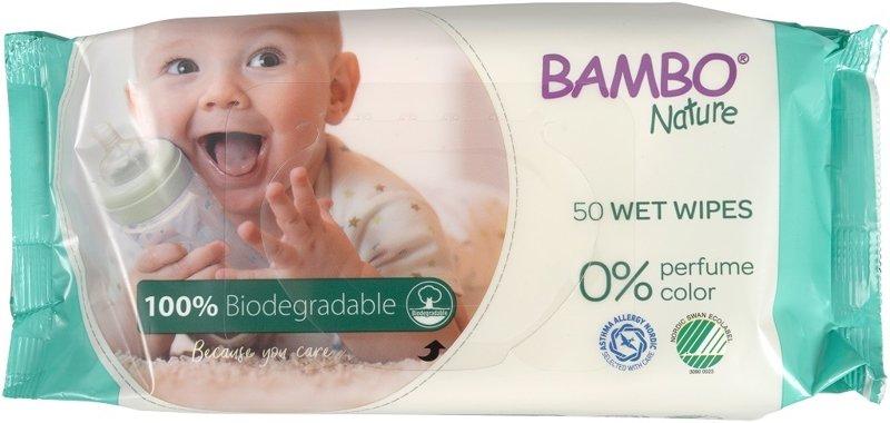 BAMBO Nature Utierky vlhčené biologicky rozložitelné, 50 ks