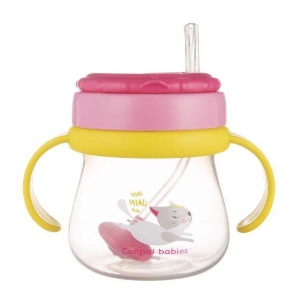CANPOL BABIES Hrnček športový so slamkou a závažím 250ml - Canpol Babies hrnček športový so slamkou a závažím 250 ml mačička ružová