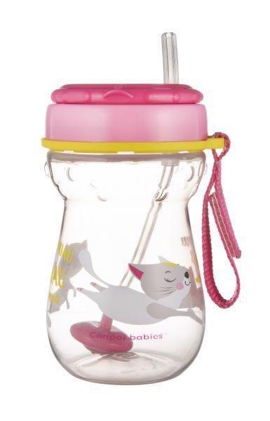 CANPOL BABIES Hrnček športový so slamkou a závažím 350ml - Canpol Babies hrnček športový so slamkou a závažím 350 ml mačička ružová