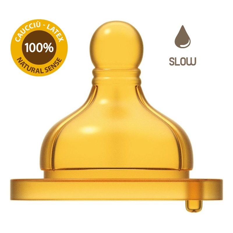 CHICCO Cumlík na fľašu Original Touch latex, pomalý 2 ks