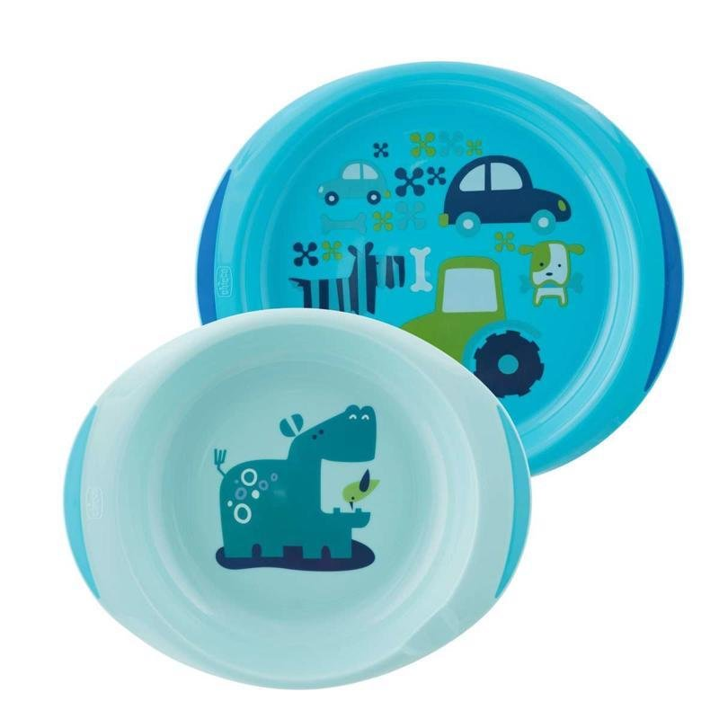 Jedálenský set tanier a miska 12m+, modrý - Chicco jídelní sada talíř 22 cm a miska 15 cm 12m+ 2 ks modrá