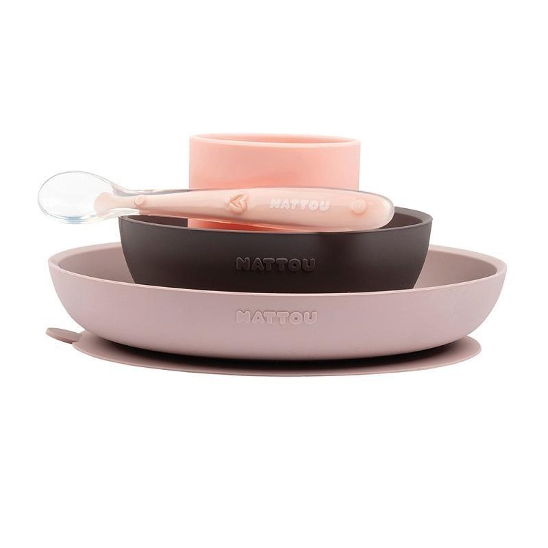 NATTOU Set jedálenský silikonový 4 ks ružovo-fialový bez BPA