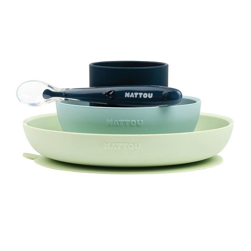 NATTOU Set jedálenský silikonový 4 ks zeleno-modrý bez BPA