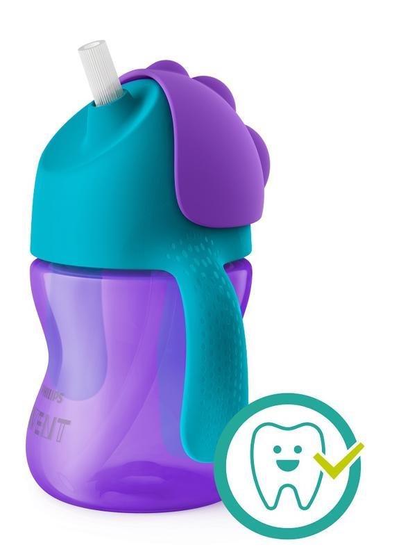 Philips AVENT Hrnček 200 ml Bendy s ohybnou slamkou dievča - Avent hrnček so slamkou fialový 200ml