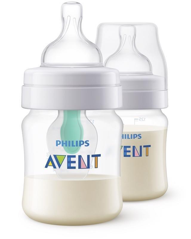 Philips AVENT Fľaša 125 ml AirFree 2 ks - Avent dojčenská fľaša AntiColic s ventilom Airfree 2 ks transparentná 125 ml