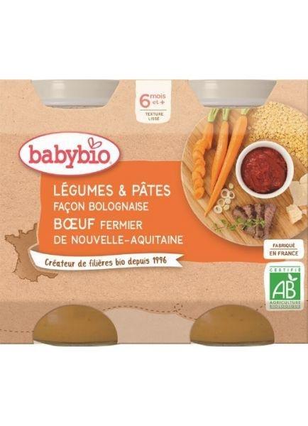BABYBIO Zelenina s cestovinami na bolonský spôsob s hovädzím (2x 200 g)