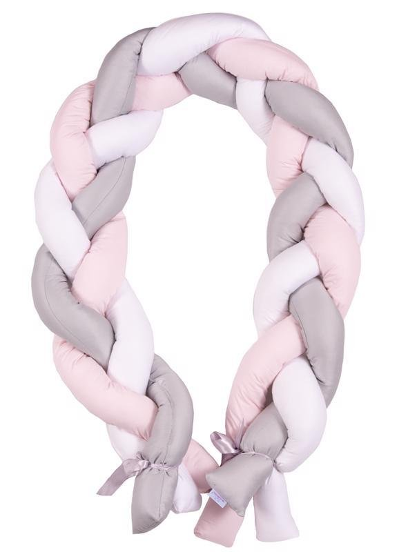 BABYMATEX Mantinel do postieľky Vrkoč 200cm biela-sivá-ružová
