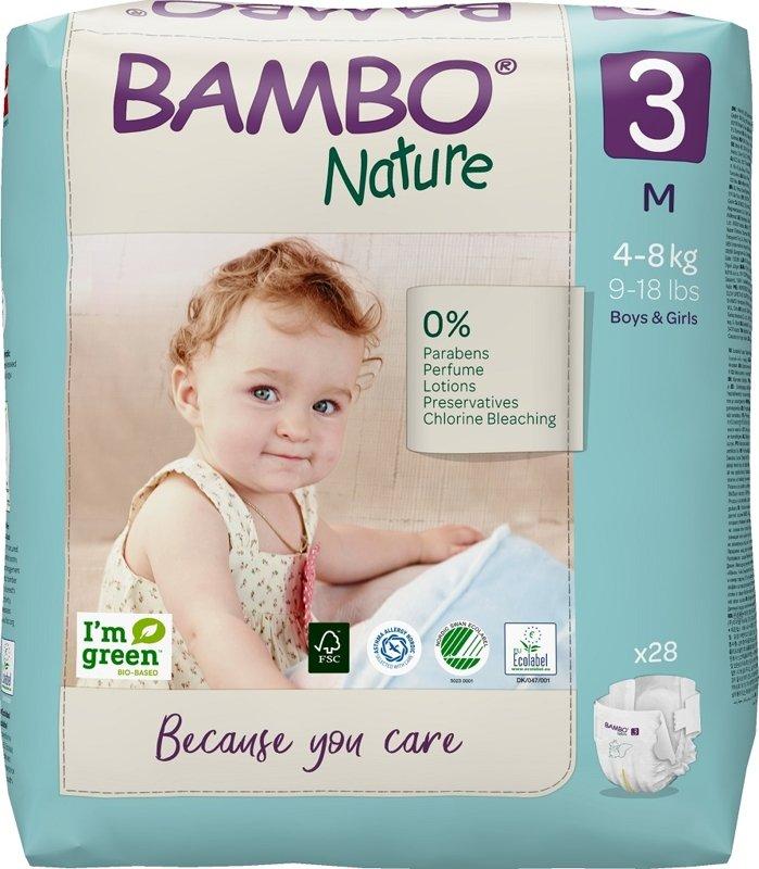 BAMBO Nature Plienky jednorázové 3, 28 ks, pre 4-8 kg