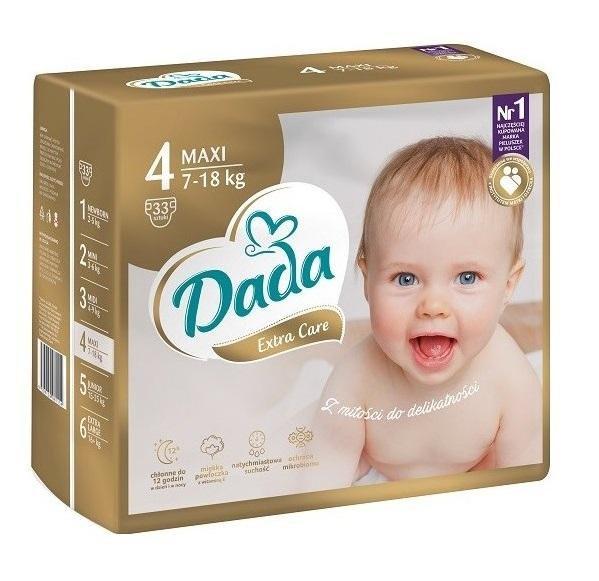 DADA Jednorázové plienky Extra Care Maxi veľ. 4 (7-18 kg), 33 ks