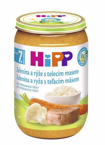 HIPP BIO Zelenina s ryžou a teľacím mäsom (220 g) - mäsovo-zeleninový príkrm