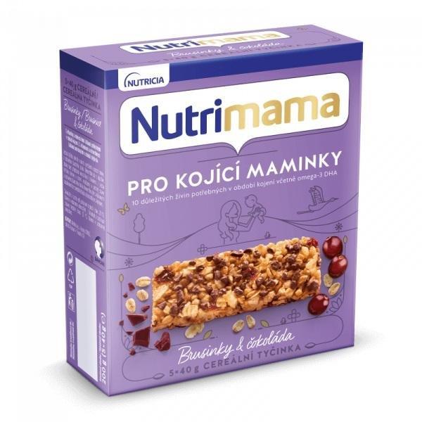 Tyčinky cereálne NUTRILON NUTRIMAMA Profutura Brusnice a čokoláda 5x40g - Nutrimama cereálne tyčinky 200 g