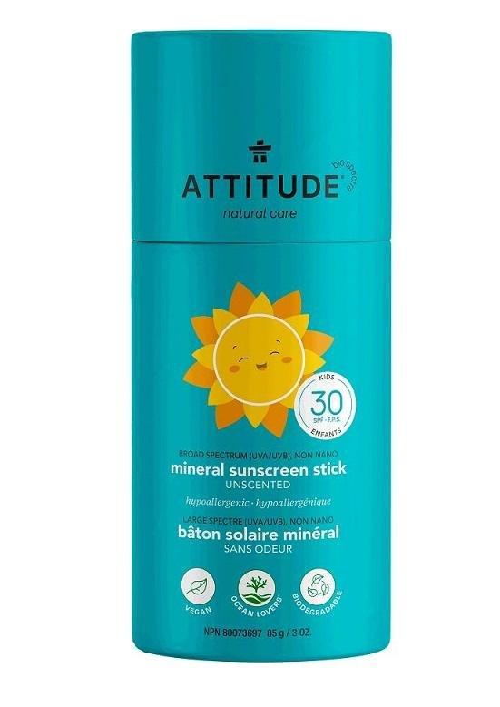 ATTITUDE Detská 100% minerálna ochranná tyčinka na celé telo (SPF 30) bez vône 85 g
