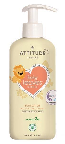 ATTITUDE Detské telové mlieko Baby leaves s vôňou hruškovej šťavy 473 ml