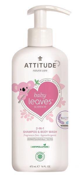 ATTITUDE Detské telové mydlo a šampón 2v1 Baby leaves bez vône 473 ml