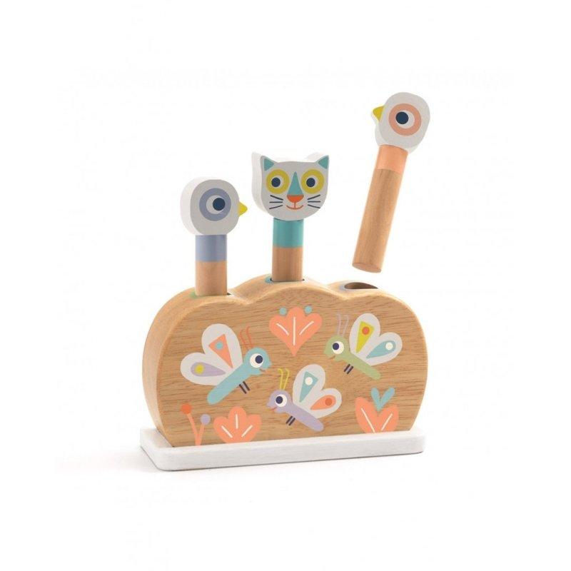 DJECO Drevená hračka vyskakovacie dúhová zvieratka