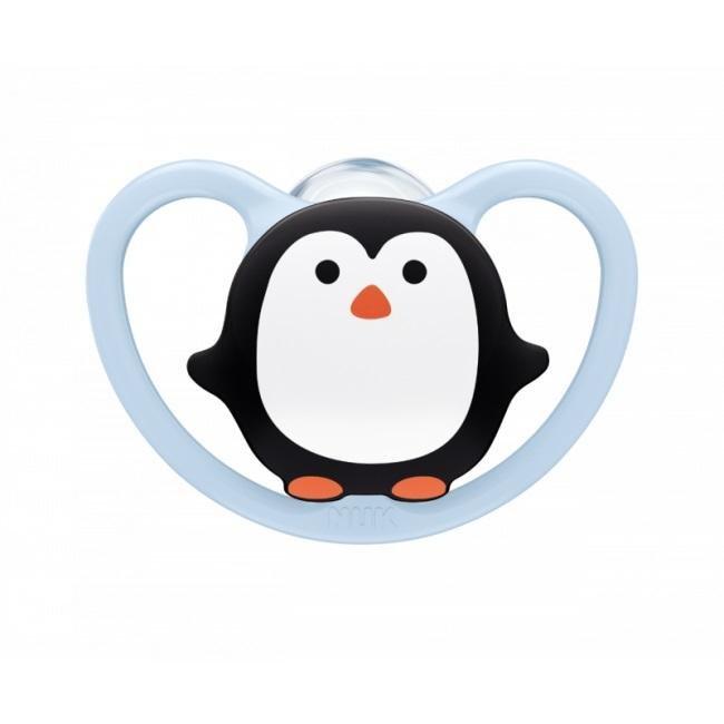 NUK Cumlík Space, silikón, V2, 6-18 m tučniak - Nuk cumlík Space girl silikón 1ks tyrkysová